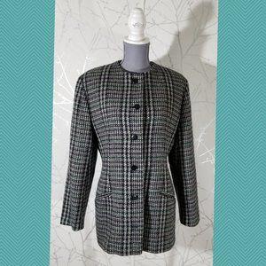 St. Michael Vintage Gray Navy Checks Tweed Jacket